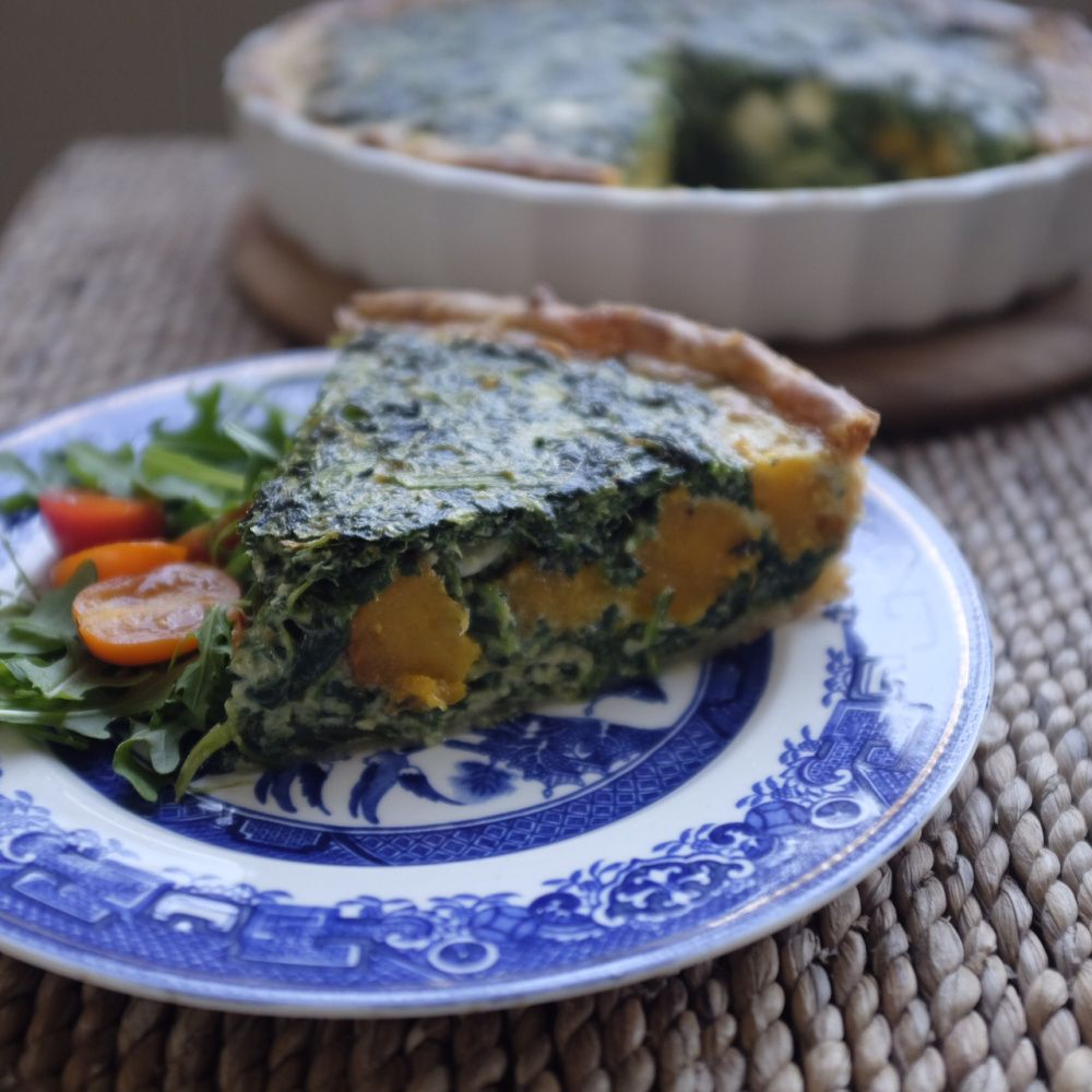 Roasted pumpkin, sage and spinach quiche @hotlyspiced