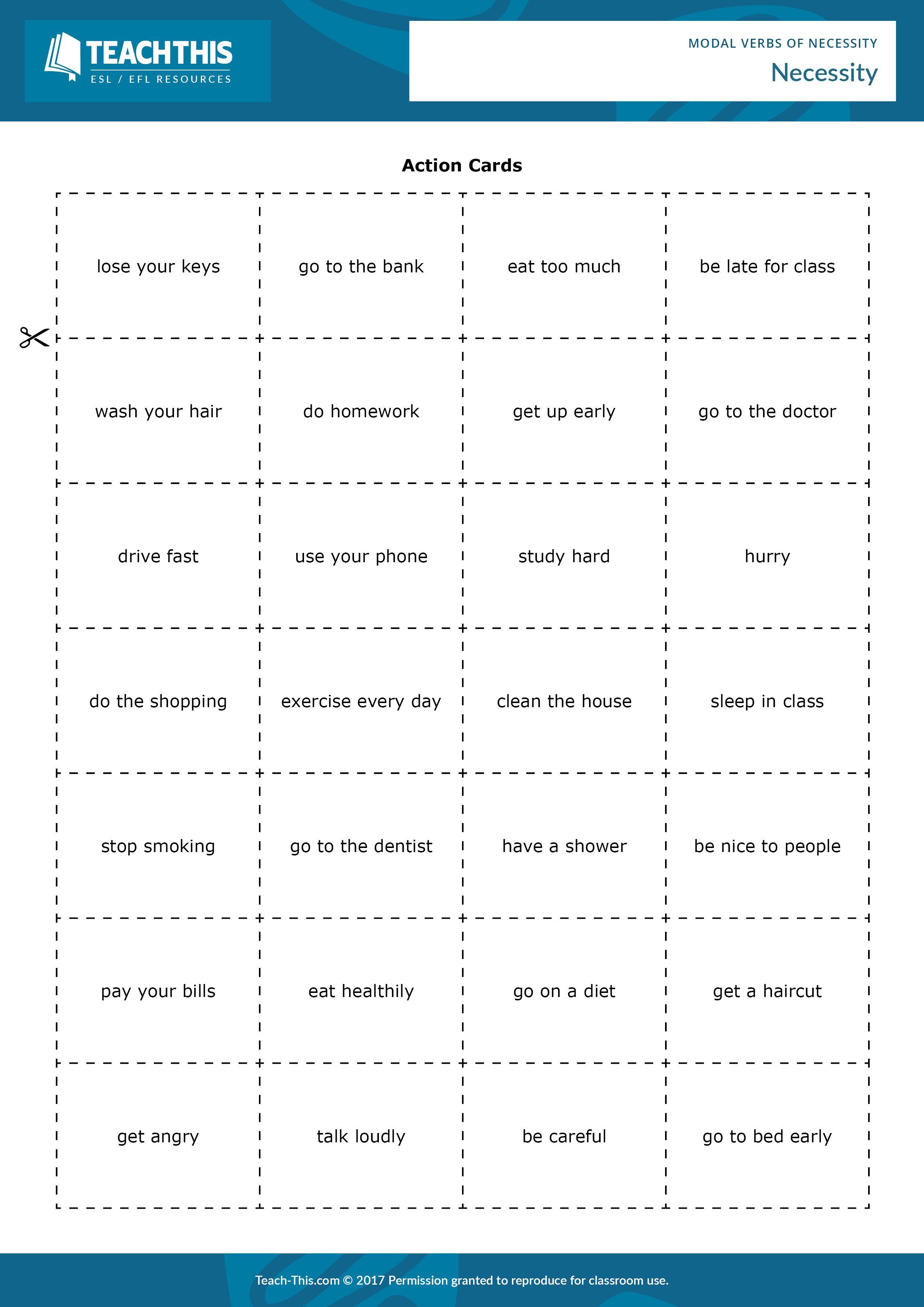 Worksheet Modal Verbs Intermediate