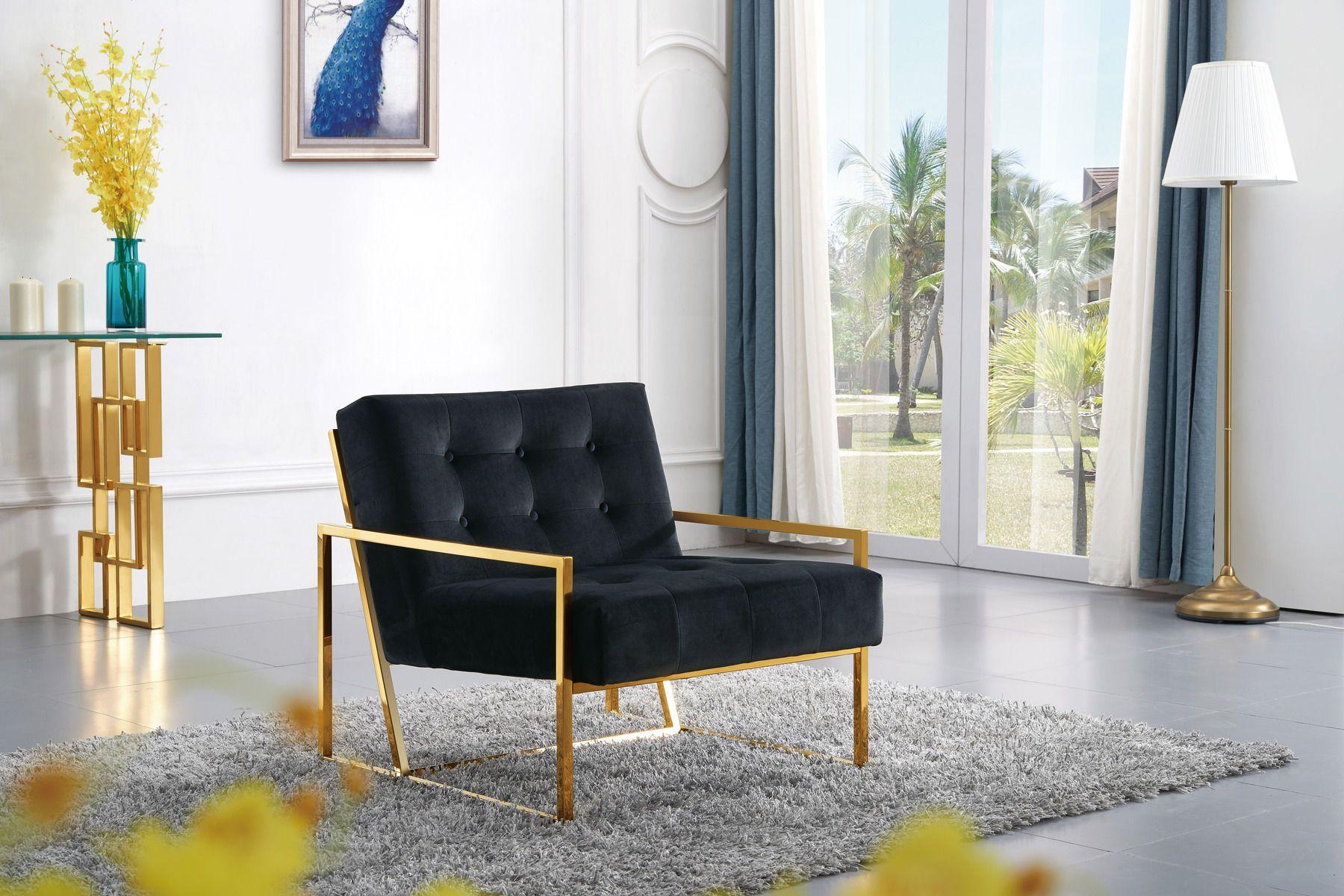 Best Meridian Pierre Black Velvet Accent Chair W Gold Base 640 x 480