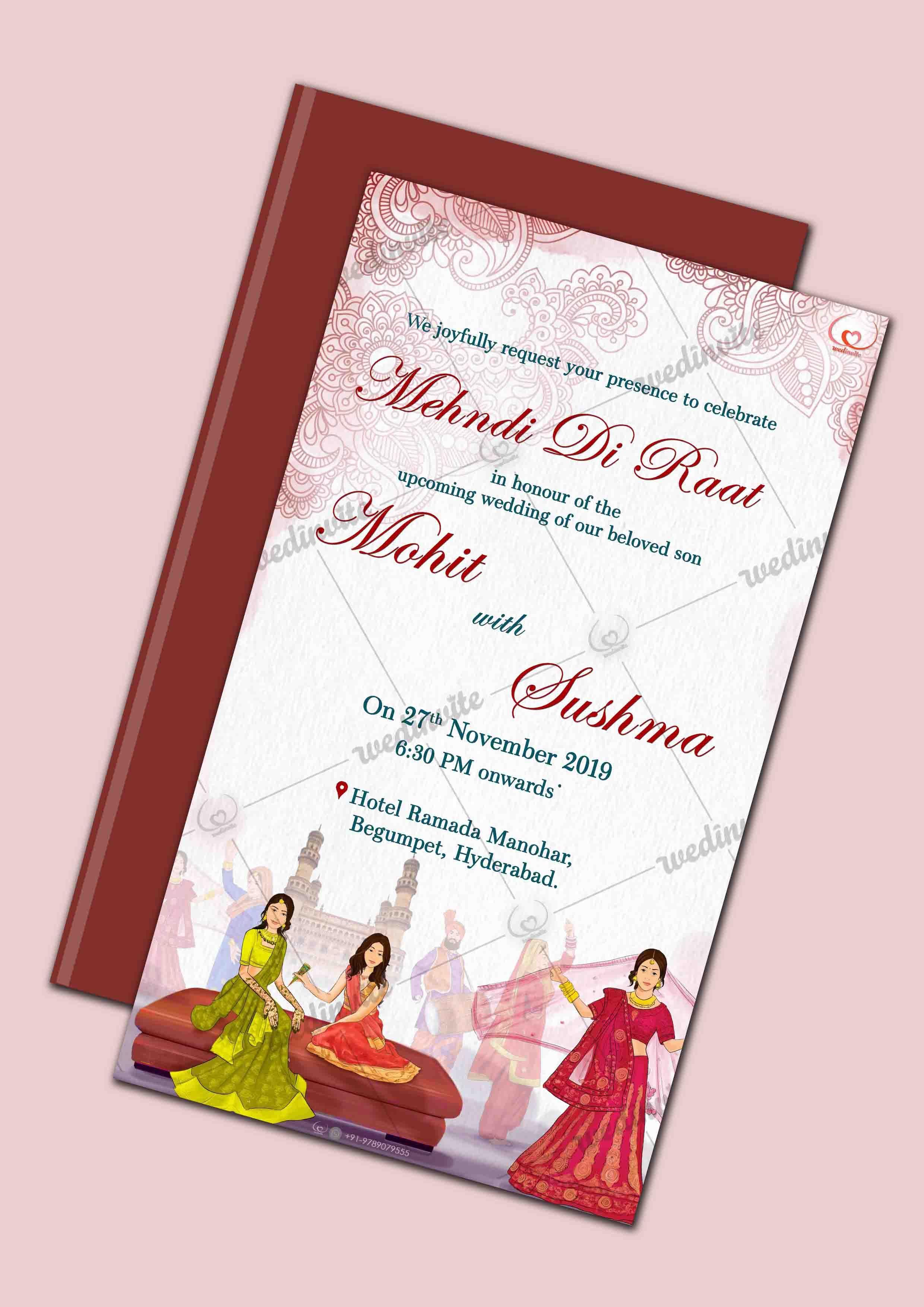 Traditional Mehndi Invite Wedding Invitation Card Design Wedding Invitation Cards Invitation Card Design