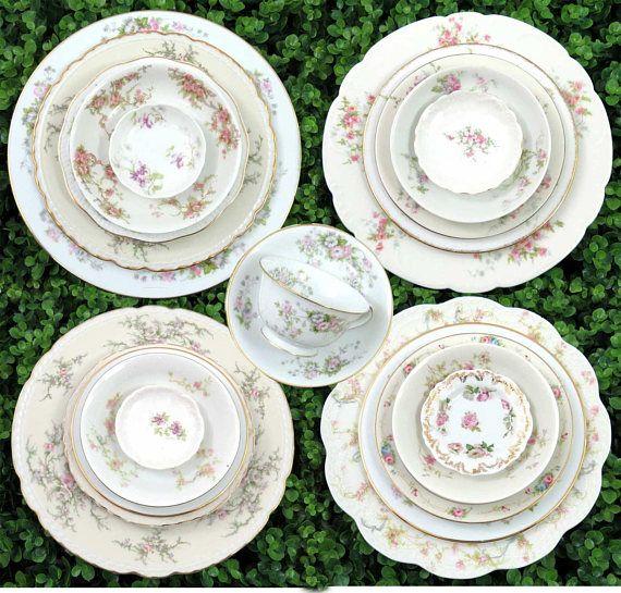 28 Piece Vintage Dinnerware Set in Mismatched China Serves 4  sc 1 st  Pinterest & 28 Piece Vintage Dinnerware Set in Mismatched China Serves 4 ...