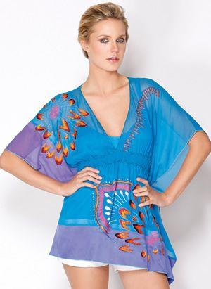 Tropical Blue silk embroidered Kimono tunic Hale Bob 2014 Cabana collection