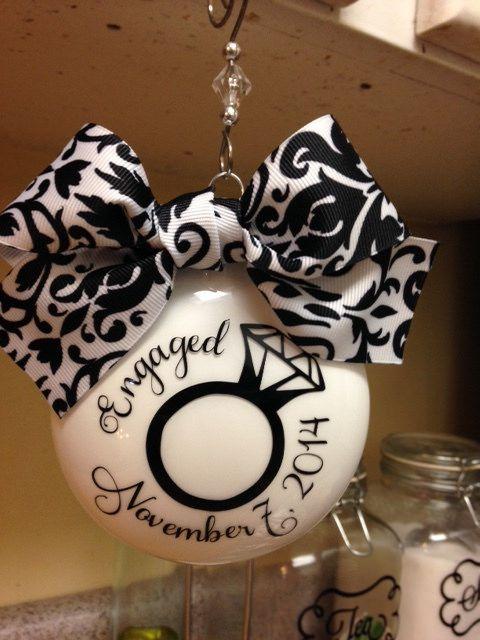 Engaged Ornament Silhouette Vinyl Engagement Ornaments Wedding