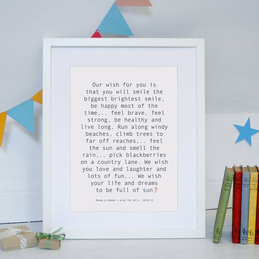 Personalised Baby Wish Print Godsons Wishes For Baby