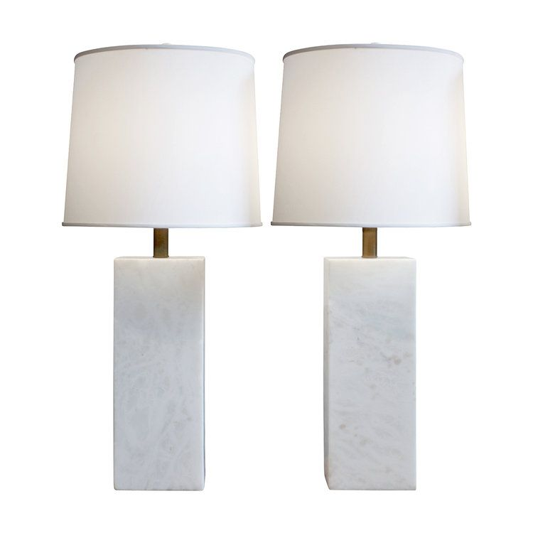Nessen Pair Of Large White Marble Block Table Lamps 1950s Lobel Modern Nyc Table Lamp Marble Block Lamp