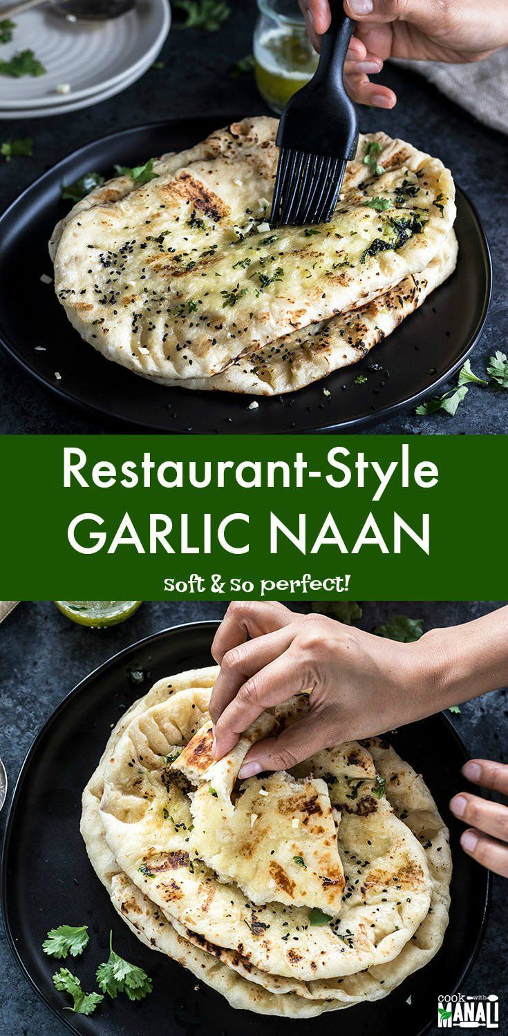 Soft and Buttery Homemade Garlic Naan - just like ... - #Buttery #garlic #Homemade #indian #Naan #soft #smallrestaurants