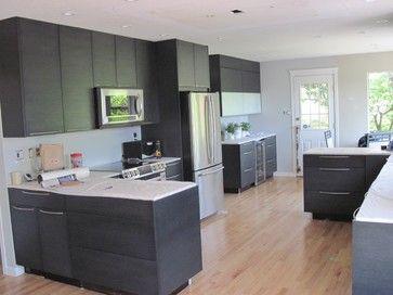 Black Oak Flat Panel Cabinets Contemporary Kitchen Cabinets