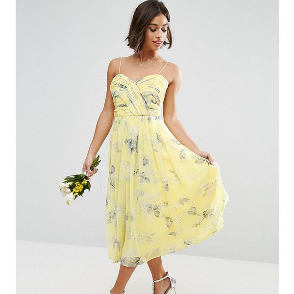 a7e80928c29 ASOS PETITE WEDDING Rouched Midi Dress in Sunshine Floral Print ( 74) ❤  liked on Polyvore featuring dresses