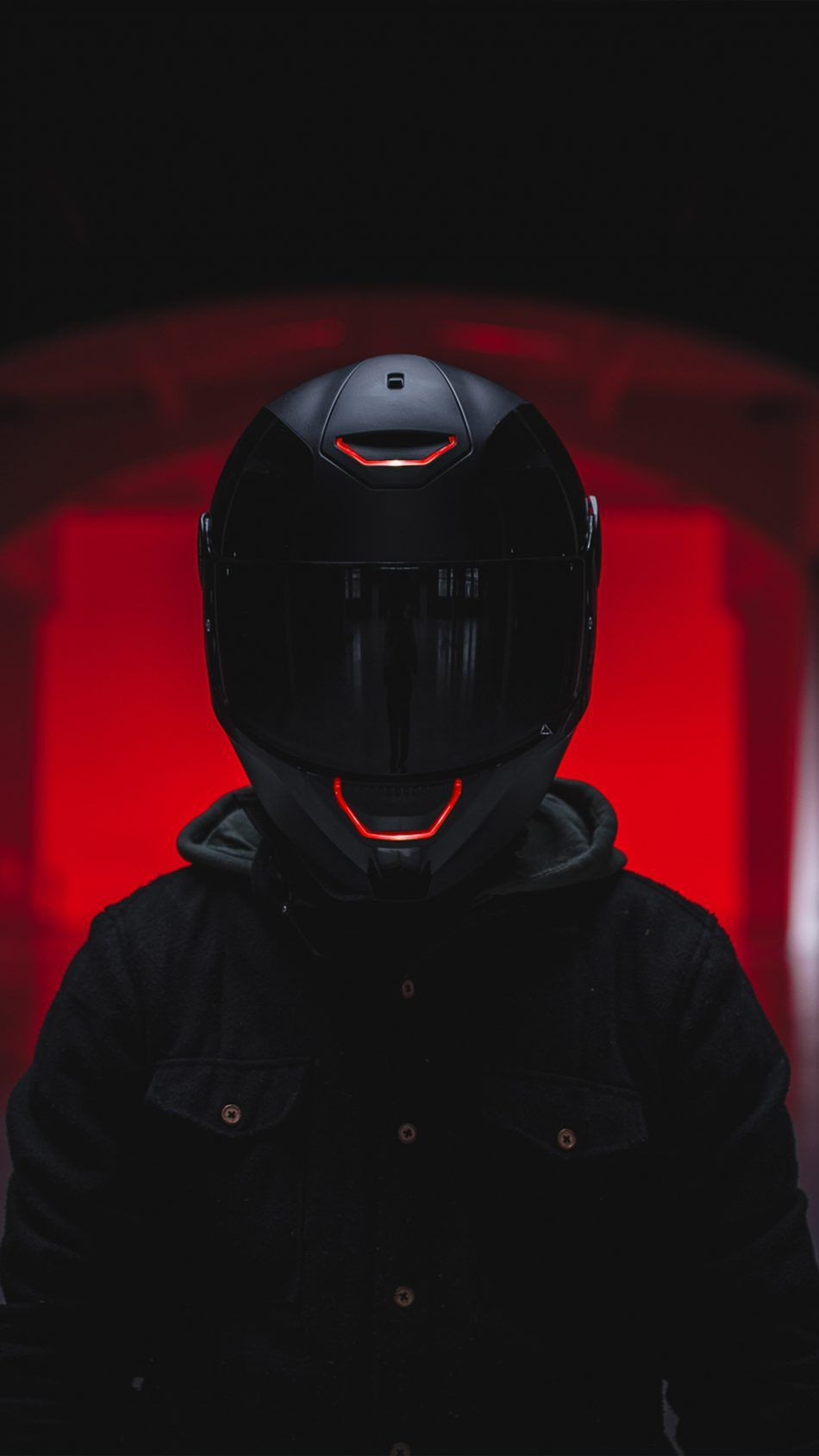 Biker Helmet Red Light 4K Ultra HD ...