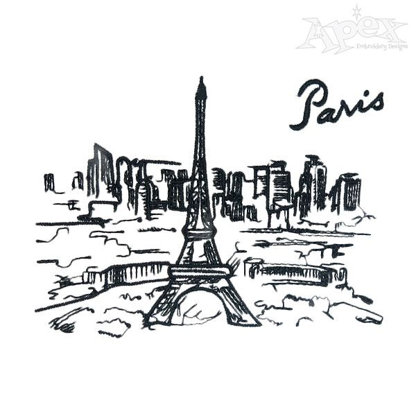 Paris Eiffel Tower Embroidery Design States And Cities Embroidery