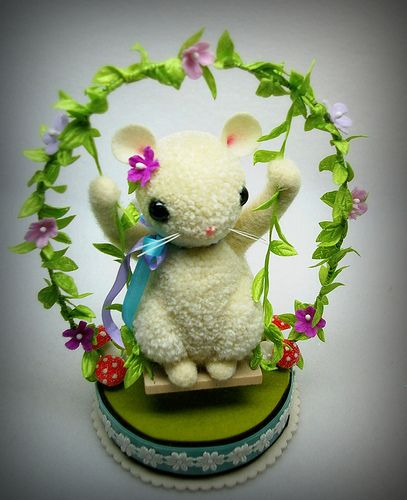 Mouse On Swing 006 Easter Crafts Pom Pom Animals Pom