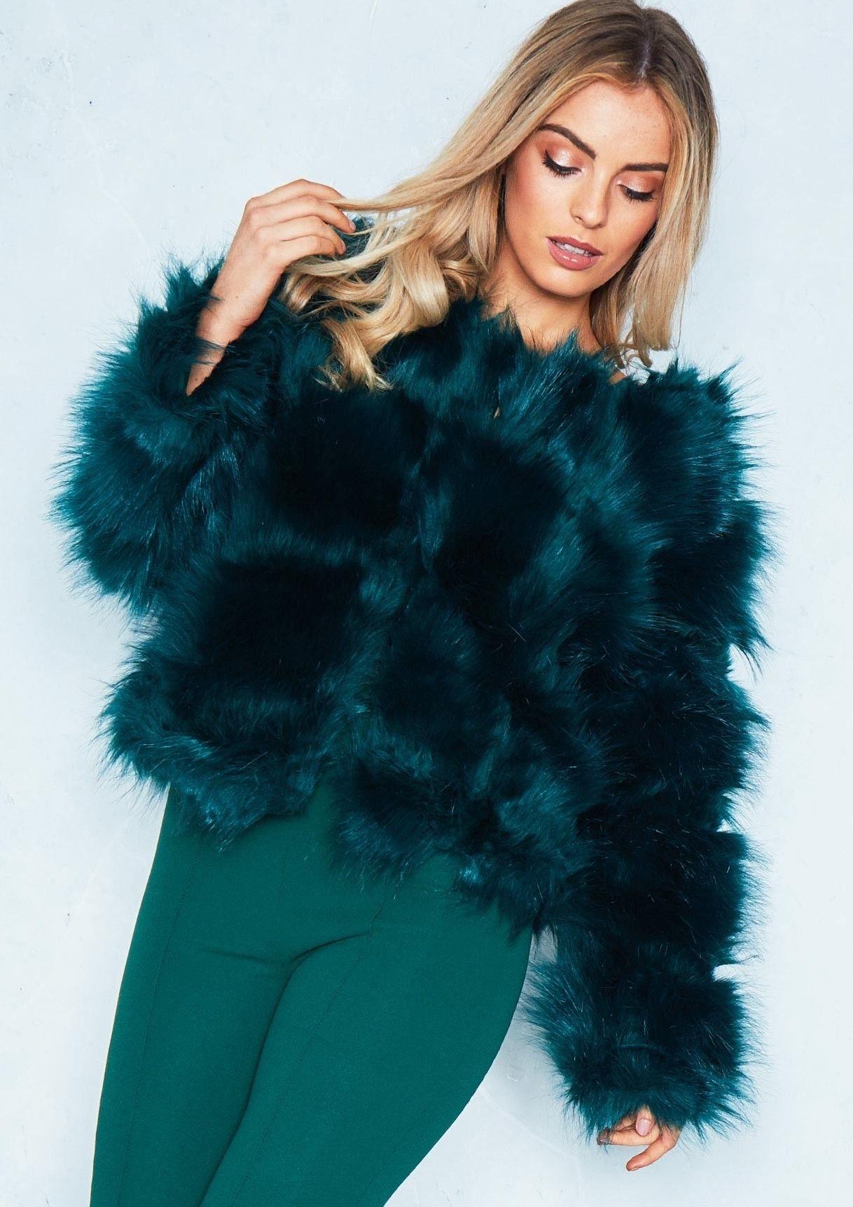8a749dffcbd Aniyah Emerald Green Cropped Shaggy Faux Fur Coat | style.012 ...