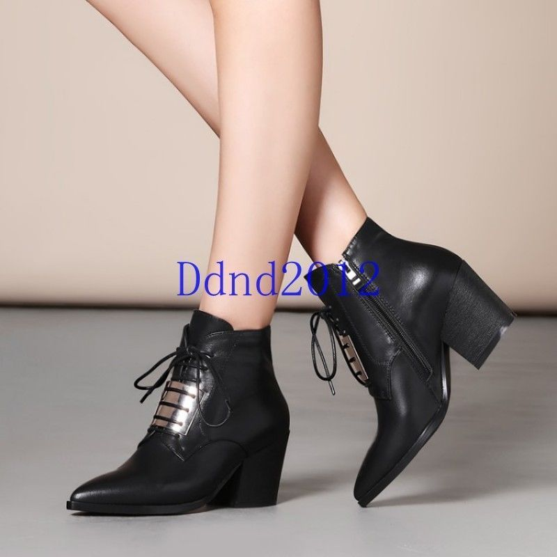 Women's Lace up Pointed Toe Mid Heel Ankle Boots