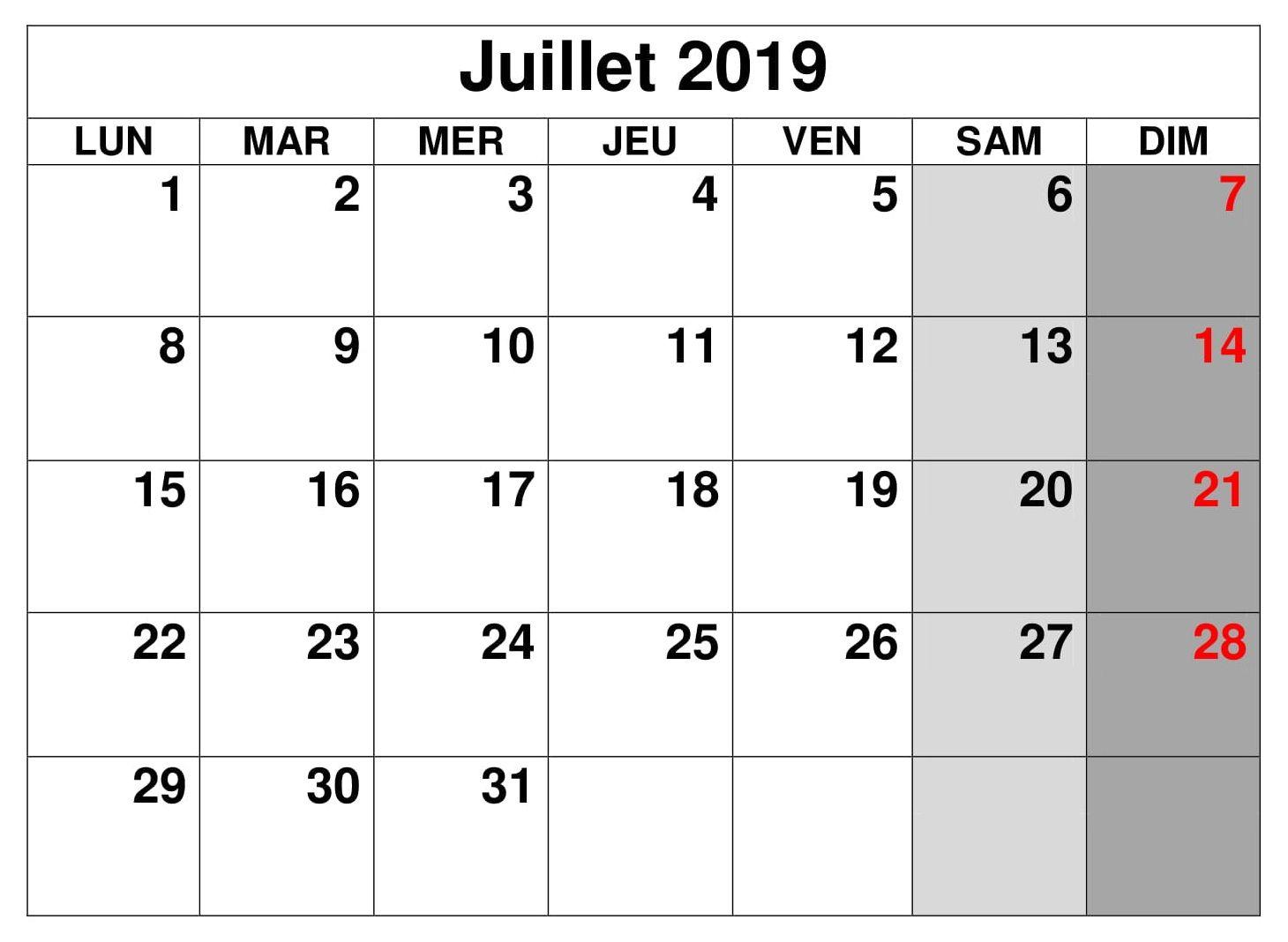 Calendrier A Imprimer Juillet 2019.Juillet Calendrier 2019 A Imprimer Word In 2019 Computer