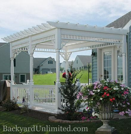 10 X14 Vinyl Custom Pergola With Colonial Style Gazebo Railings Turned Posts And Victorian Braces Amish Made And Gazebo Pergola Pergola Patio Vinyl Pergola