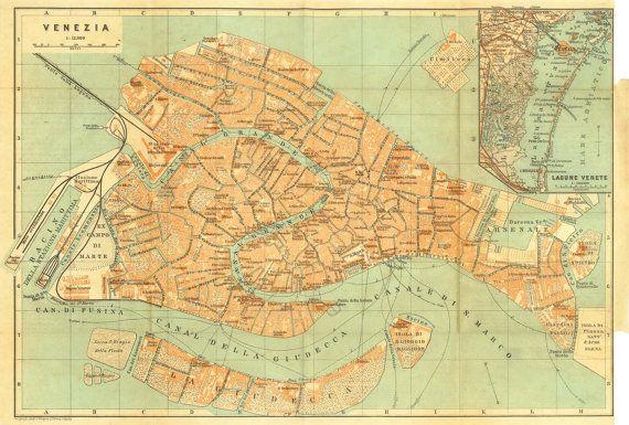 1926 Venice City Map Street Plan Canals Italy Etsy Venice City Map Venice City Venice Map