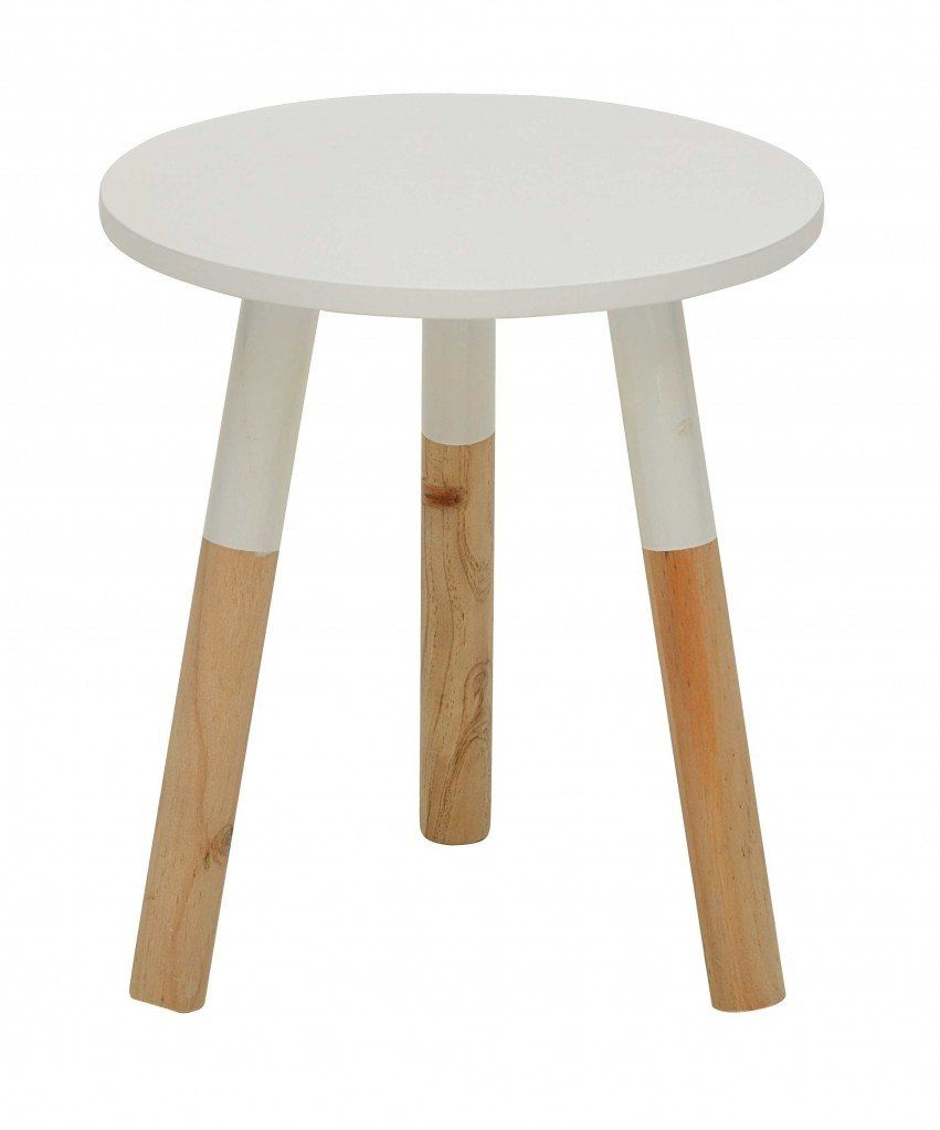 Beistelltisch Zwolle Hocker Kleiner Runder Tisch Versch Farben Farbe Weiss