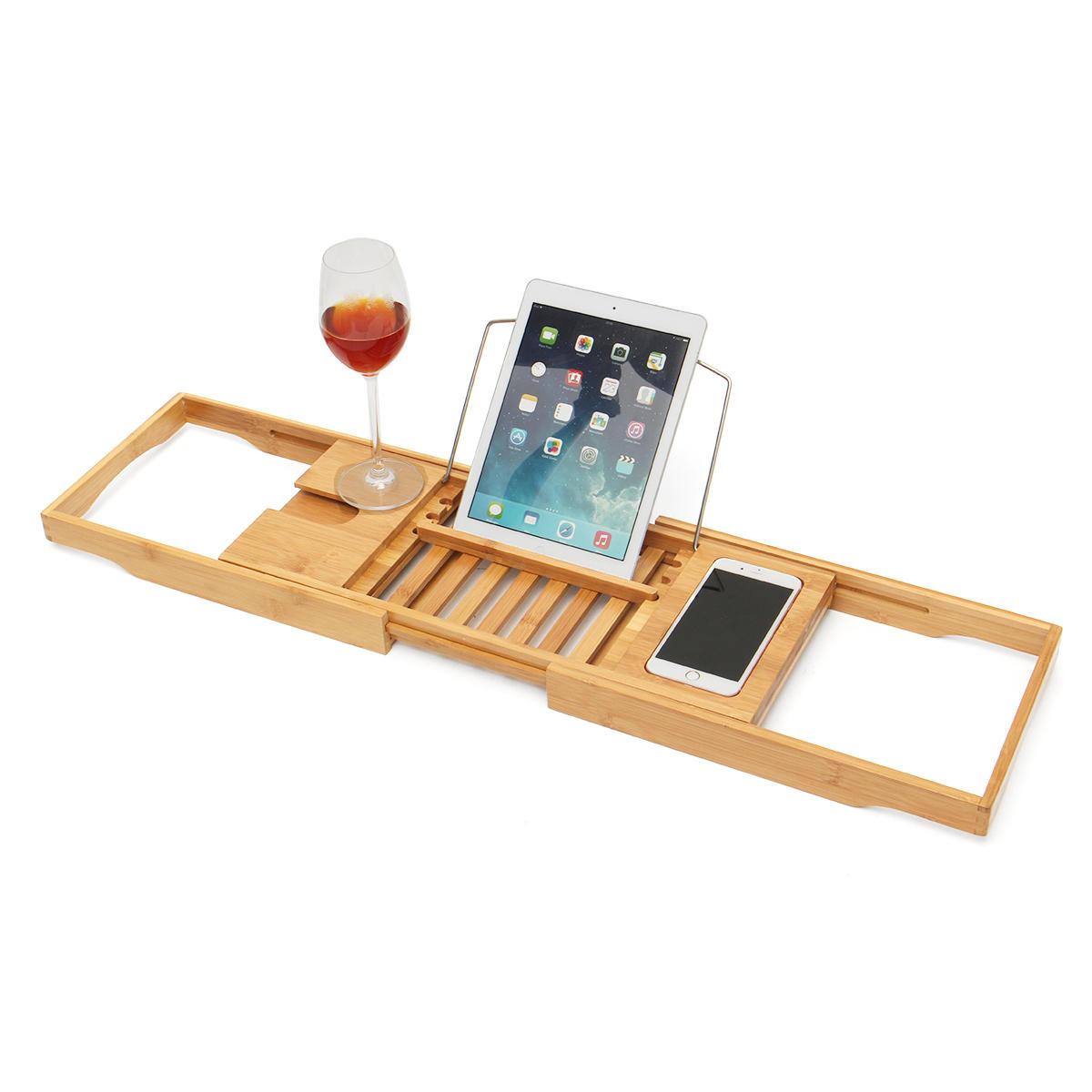 Luxury Bathroom Bamboo Bath Shelf Bridge Tub Caddy Tray Rack Wine ...