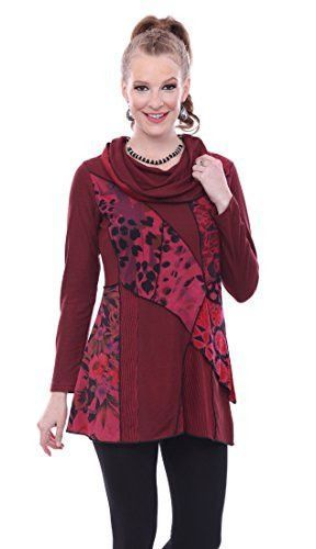 Parsley & Sage - Jodie, Cowl Neck Long Sleeve Burgundy Patterned Tunic Top