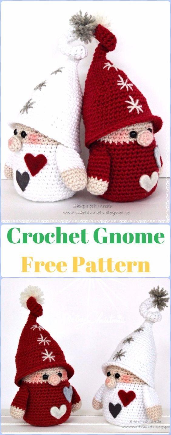 Crochet Gnome patrón libre - migurumi Crochet Navidad Softies ...