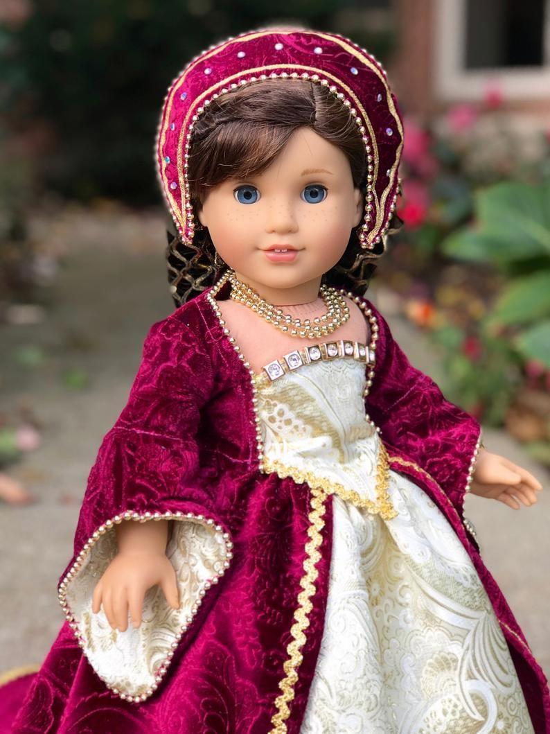 Anne Boleyn - historical gown for 18 inch doll like American Girl #18inchdollsandclothes Anne Boleyn historical gown for 18 inch doll like American | Etsy #18inchdollsandclothes