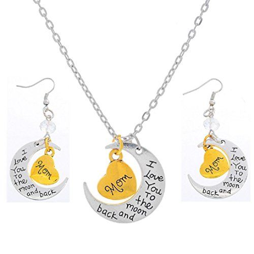 Xiehou Mom I Love You to the Moon and Back Engraved Heart Crescent Pendant Necklace Drop Earrings Xiehou http://www.amazon.com/dp/B00WG8TRW6/ref=cm_sw_r_pi_dp_-gzovb1P27CY8