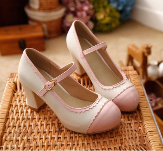 New Kids Girls Sweet Bowknot Mary Jane Buckle Strap High Heels Dress Shoes