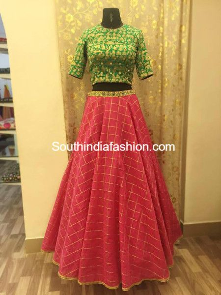 072b0f0de3071 long skirt with crop top ashwini reddy Kids Blouse Designs
