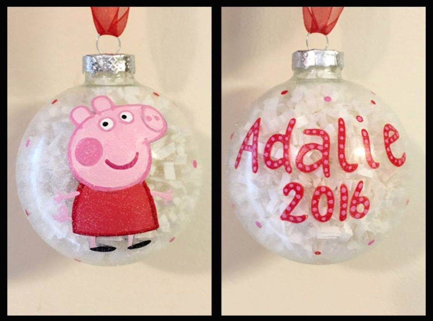 Peppa the Pig Hand Painted Ornament, Peppa the Pig Gifts, Kids Cartoon Ornaments, Glass Ball Christmas Ornament, Christmas Decor for Kids by WattsGoodArtistry on Etsy