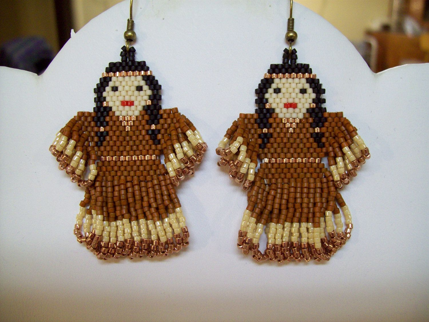 Native Amerian Style Beaded Indian Doll Earrings in Copper and ...