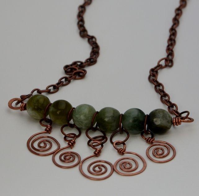 Jade necklace with spirals. £14.00