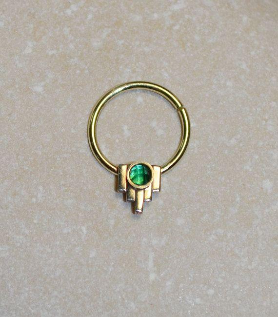 2mm Emerald Septum Ring Gold Nose Ring Septum Piercing Etsy