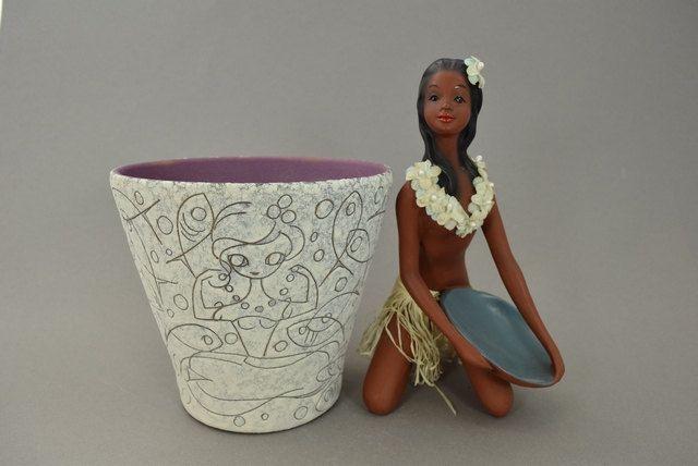 Vintage Keramik Übertopf / Dekor Filigran / Adele Bolz / Ruscha | West German Pottery | 60er von ShabbRockRepublic auf Etsy