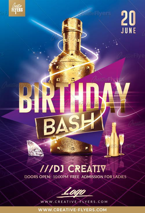 Birthday Bash Flyer PSD Templates - Creative Flyers Free flyer