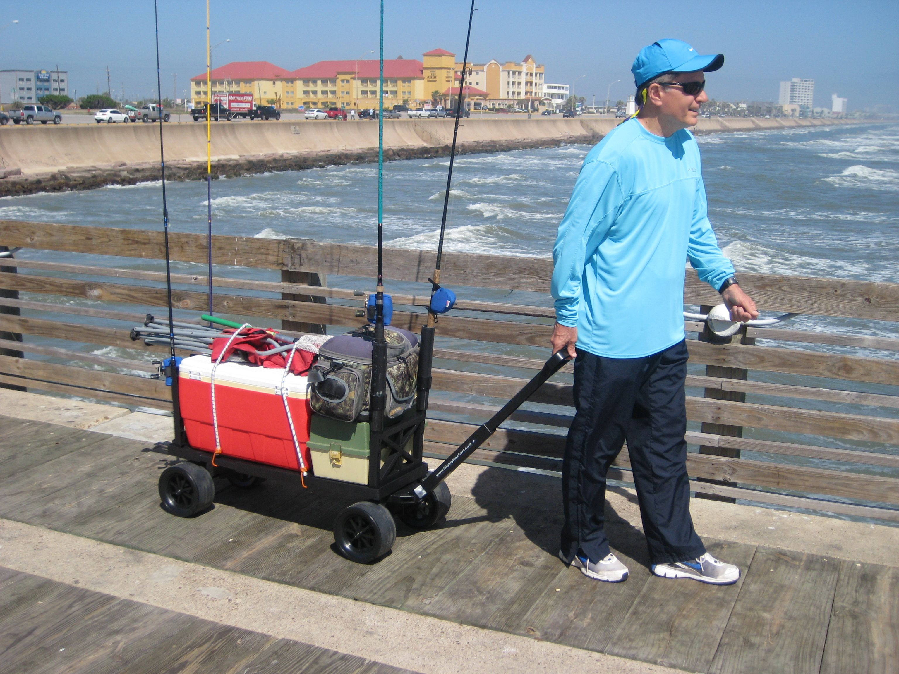 What a great pier fishing cart mighty max products i for Pier fishing cart