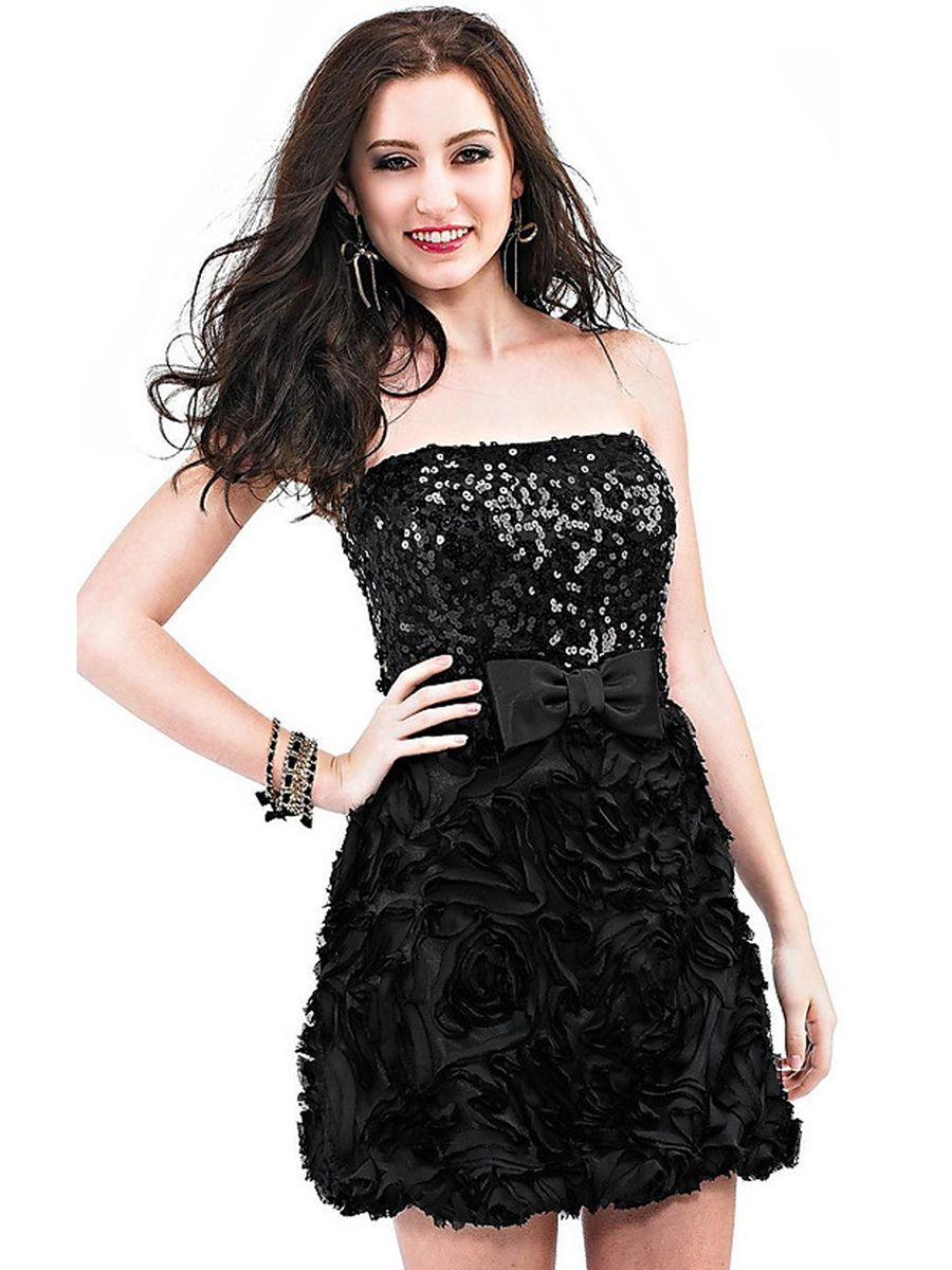 Black witch strapless mini sheath sequined bodice and