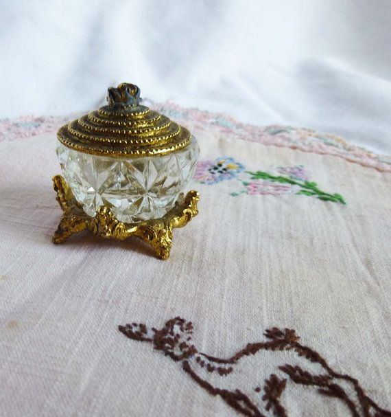 1980's Brass and Crystal Bowl with Tiny by LauraDarlingDeluxe, $28.00