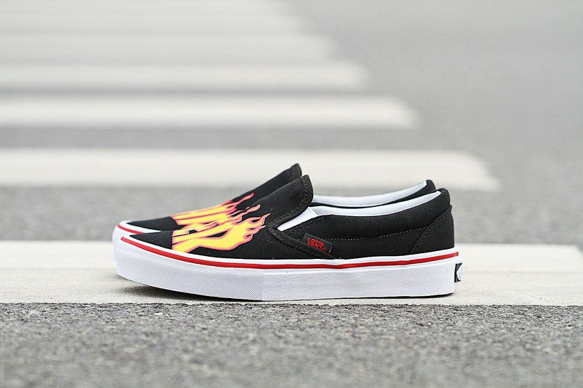 Vans Slip-On Pro X Hrasher Black Flame Fire Low Vans For Sale  Vans ... 1256fc634