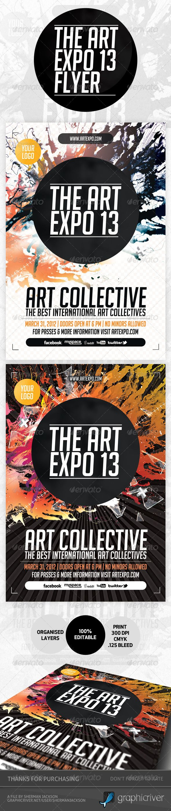 Art Expo Art Show Event Flyer Template PSD – Emerald Flyer Template