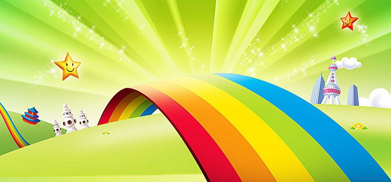 Cartoon Green Rainbow Children Background Cartoon Background Rainbow Kids Free Background Photos
