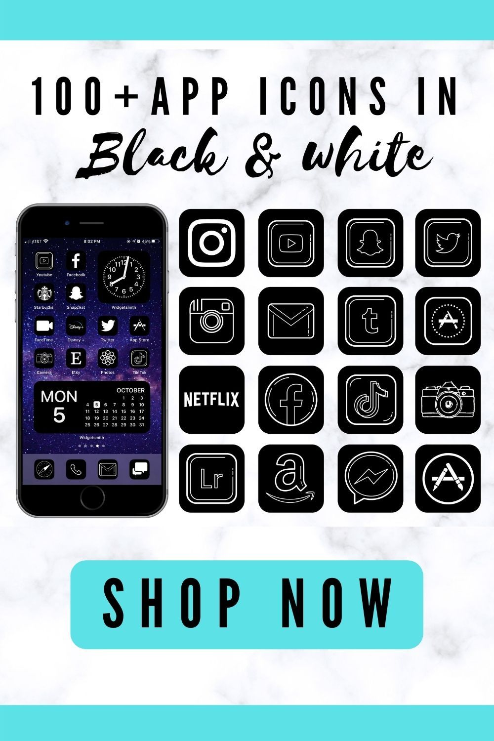 App icons black and white, iOS 14 home screen ideas for iPhone.