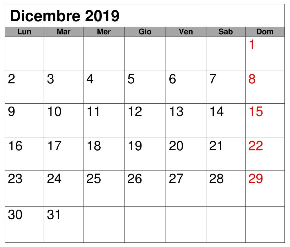 Calendario Mese Dicembre 2019.Mensile Calendario 2019 Dicembre Calendario Diciembre 2019