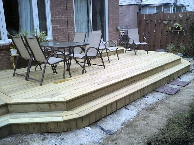 Platform Deck, Wrap Around Stairs. Bigger Deck And Wider Stair, So You Could