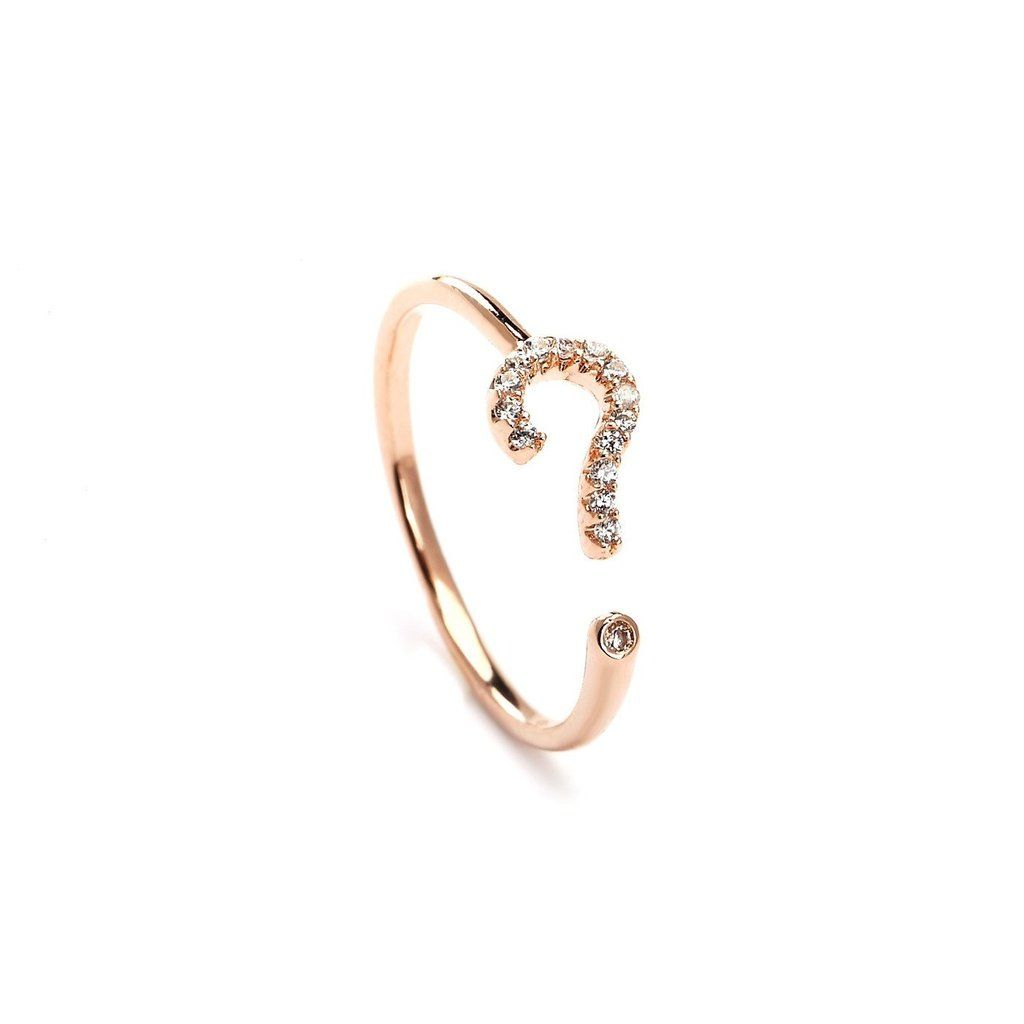 Ask me question rose gold plated midi ring fashionable