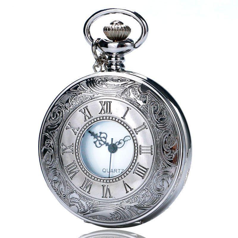 Vintage Roman Number Antique Silver Quartz Necklace Pendant Pocket Watch Xmas