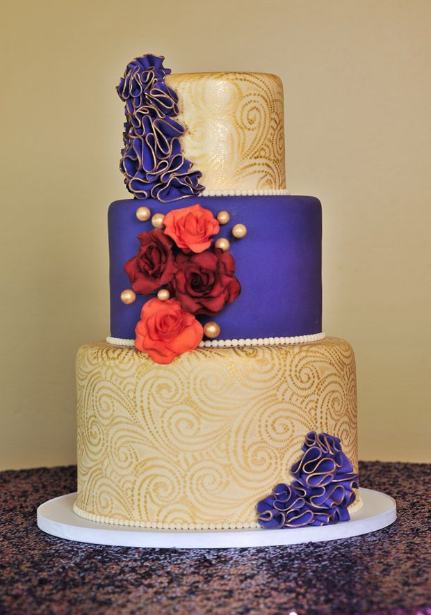 Purple, orange and gold wedding cake with ruffles. Moroccan / Indian ...