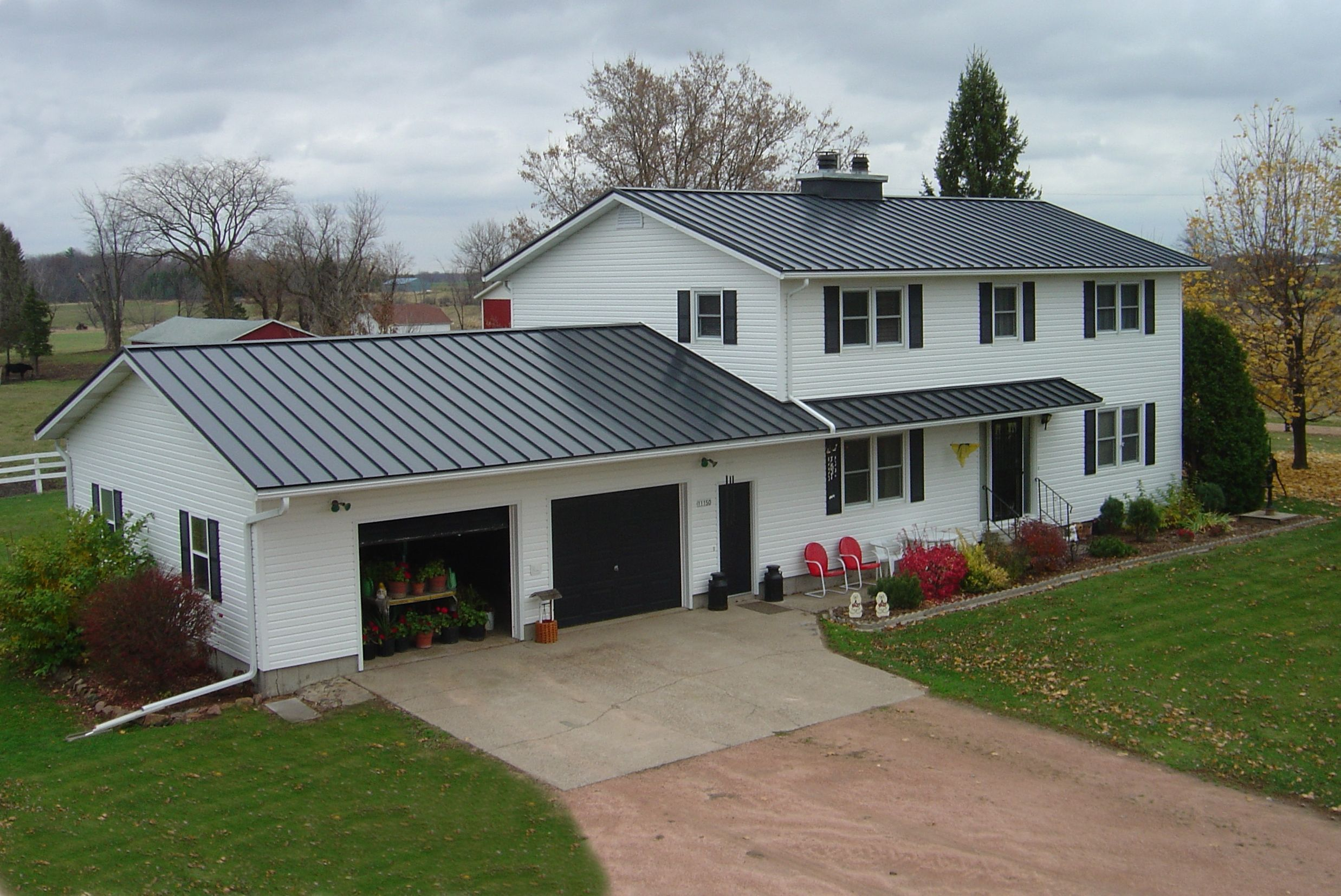 Standing Seam Roof In Charcoal Gray Metal Provided By