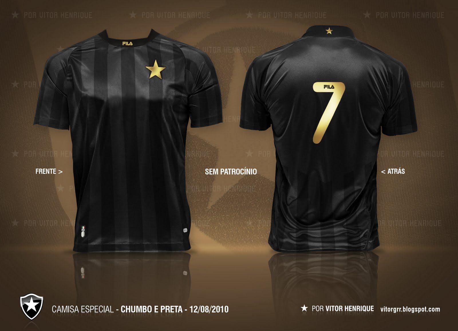 Botafogo Futebol e Regatas - Jersey Design created by a fan. Camisa Preta e  Chumbo 1959d971fd897