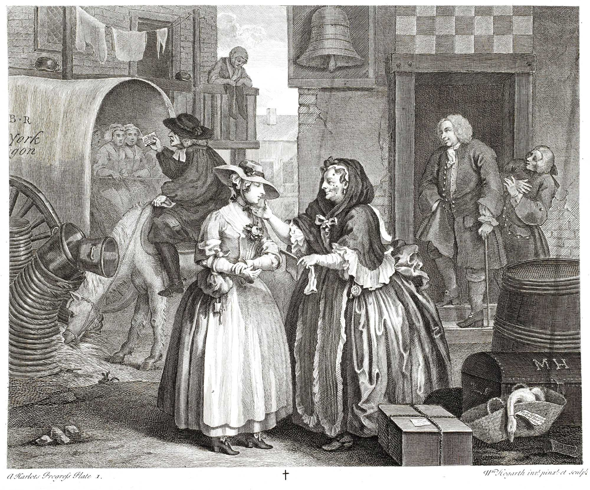 This image is from Hogarth's famous series of prints the Harlot's Progress, which tells the story of a woman coming to London from the country, taking up prostitution, being sent to prison and eventually dying of the sexually transmitted disease, syphilis.  Dozens of infamous bawdy-houses could be found up narrow alleyways  side streets, and even ships moored on the Thames were converted into brothels.