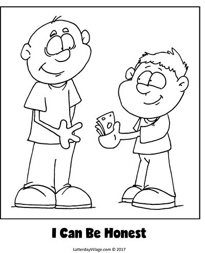Sunbeam Lesson 37: I Can Be Honest. Coloring Page